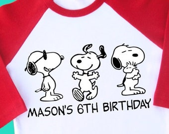 Snoopy Birthday Shirt. Personalized this Raglan Shirt with Name and Age.  1st 2nd 3rd 4th 5th 6th 7th 8th 9th Birthday. Peanuts Gang (2246) 414412e60