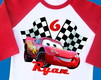 Cars Lightning McQueen Birthday Shirt Personalized With Name Age 1st 2nd 3rd 4th 5th 6th 7th 8th 9th Raglan 2224