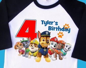 Paw Patrol Birthday Raglan Shirt Personalized With Name And Age 1st 2nd 3rd 4th 5th 6th 7th 8th T 2250