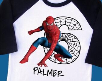 a912bea46 Spiderman Birthday Shirt. Personalized Raglan with Name & Age. 1st 2nd 3rd  4th 5th 6th 7th 8th 9th 10th Birthday [Marvel Superheroes] (2228)