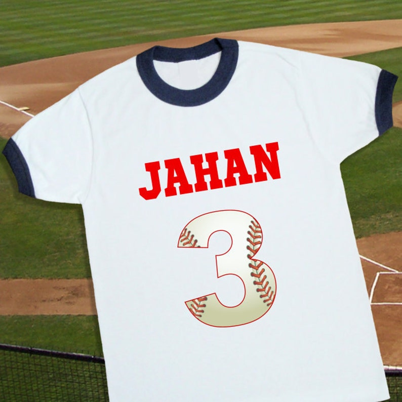 Baseball Birthday Shirt Personalized Ringer Tee With