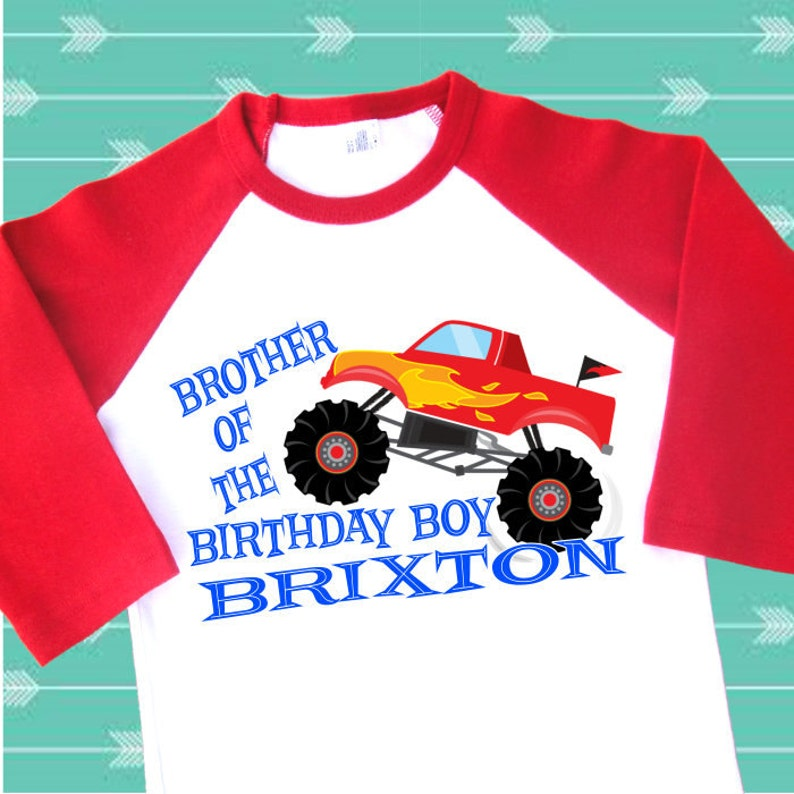 8f1f69760 Brother of the Birthday Boy Monster Truck Shirt. Personalized | Etsy