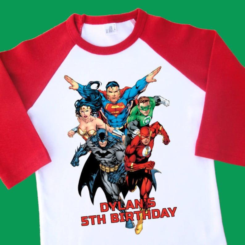Justice League Birthday Shirt Personalized Raglan With Name
