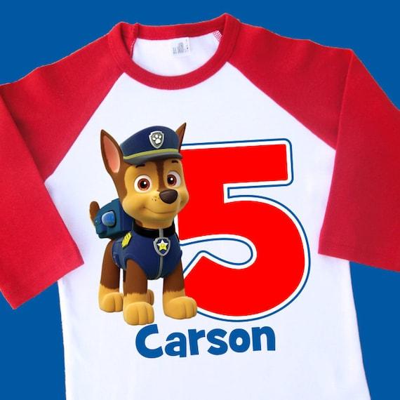Chase Paw Patrol Birthday Shirt Personalized Raglan