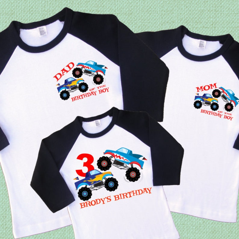 225b41373 Monster Trucks Birthday Family Shirts. Set of 3 Personalized | Etsy