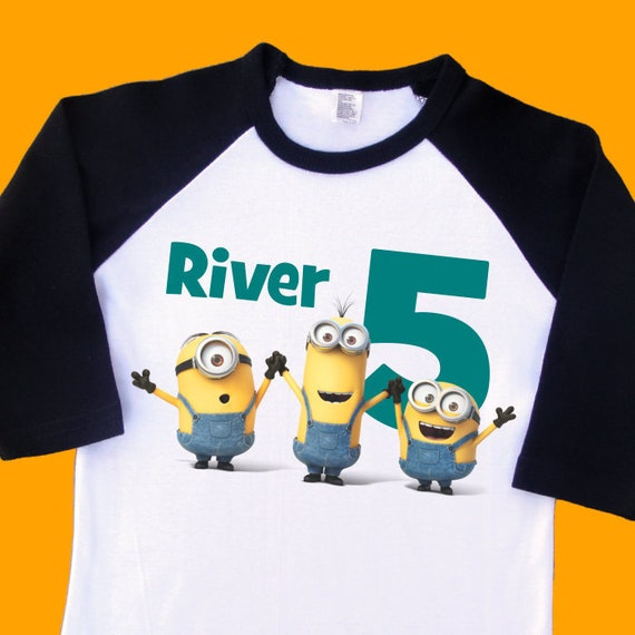 Minions Birthday Shirt Personalized Raglan With Name Age