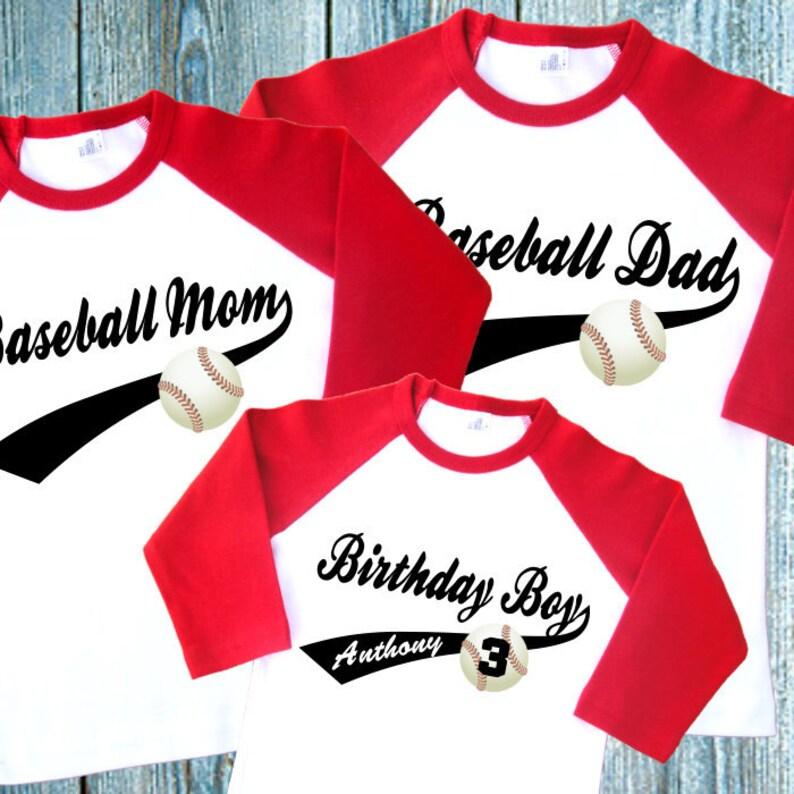 Baseball Birthday Family Shirts Set Of 3 Personalized Raglan