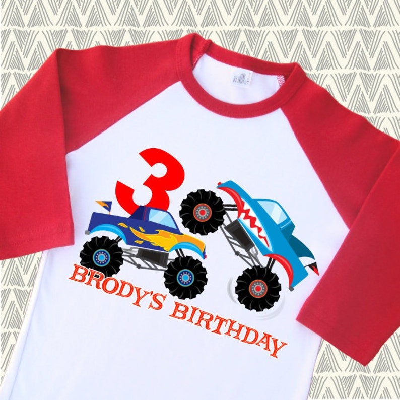 6d658c6dc Monster Truck Birthday Shirt. Personalized Raglan. 1st 2nd 3rd | Etsy