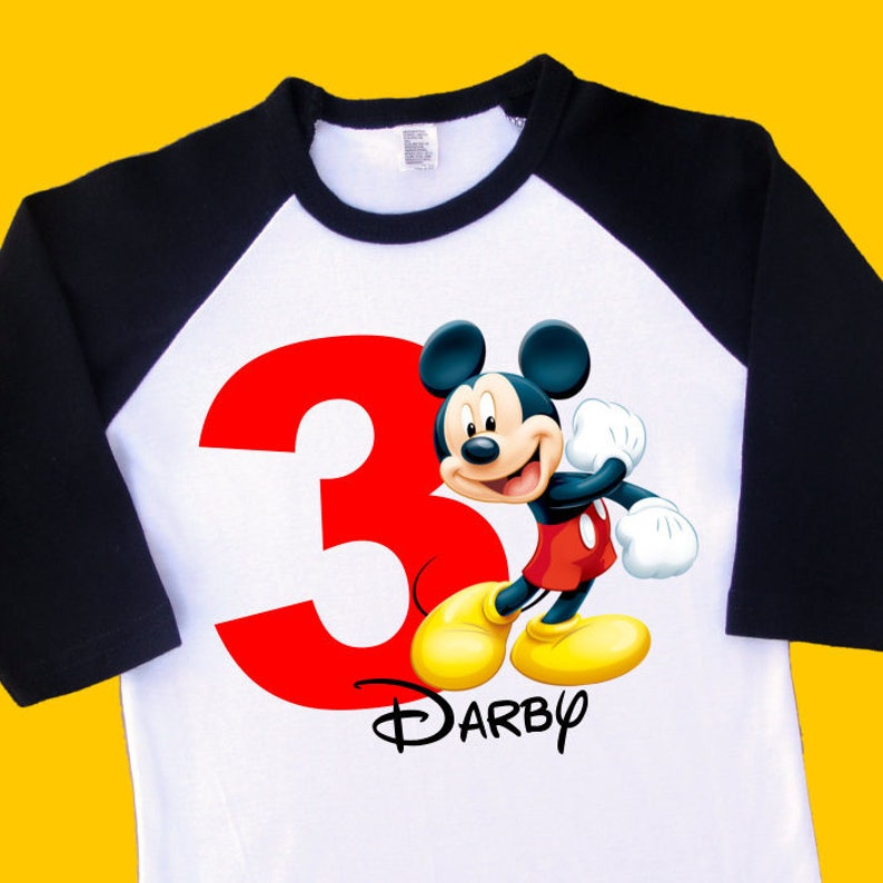 Mickey Mouse Birthday Shirt Personalized This Raglan With Name And Age 1