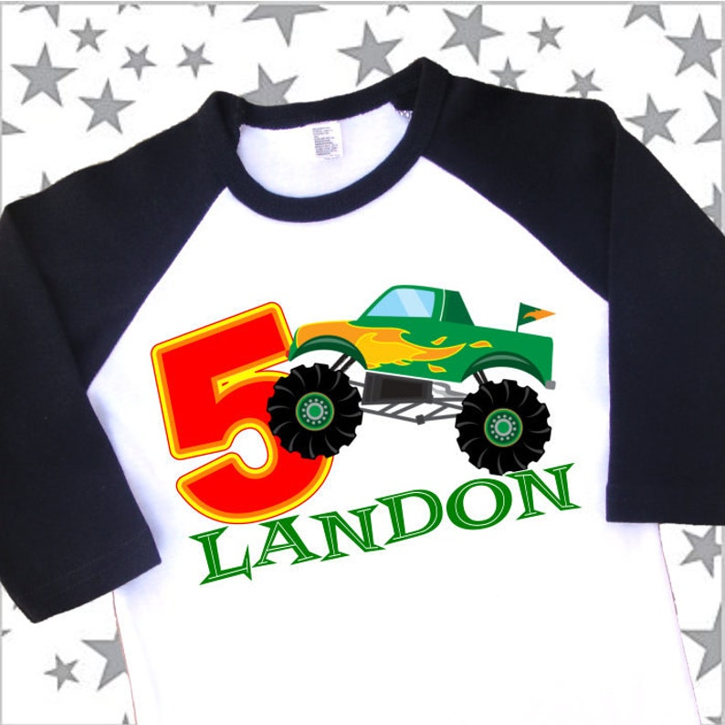 5481944dd Monster Truck Birthday Shirt. Personalized Raglan with Name | Etsy