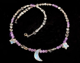 Moonstone and Amethyst Quartz Moon and  Stars necklace