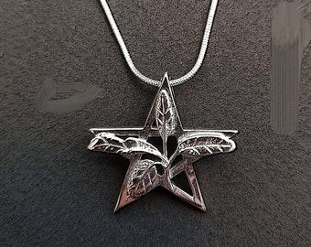 Solid Sterling Sage Pentagram