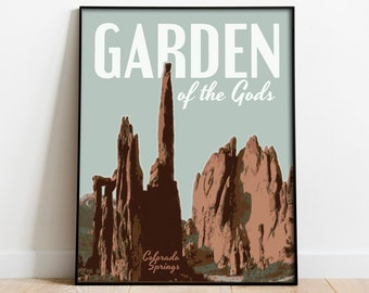 20x30 1950s Colorado Garden of the Gods Vintage Style Travel Poster