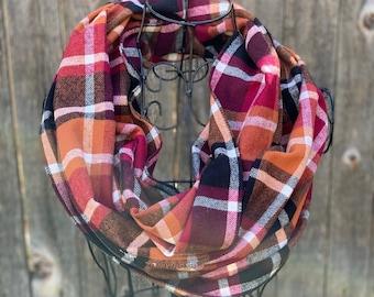 Plum, Orange, and Black Flannel Infinity Scarf