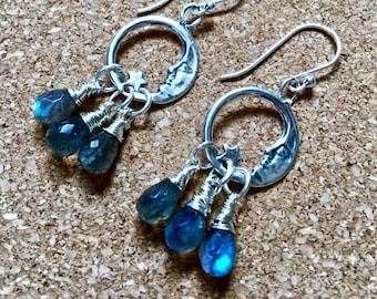moonlight magic- blue labradorite hoop earrings sterling silver moon charm hoops with 3 wire wrapped gemstone drops boho sundance style