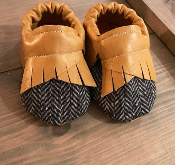 Booties Leather Herringbone Shoes MoccasinsBaby Faux Toddler Moc orCxBeWd