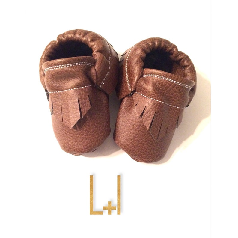 2b96e22bf3fb Vegan Brown Baby Moccasins-Faux Leather Affordable Moccs