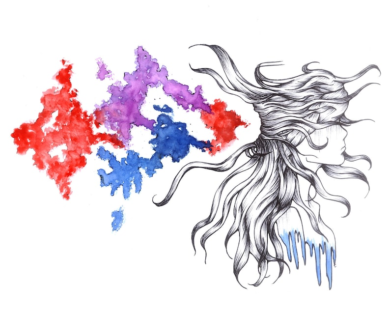 Mind Blown  Ink and Watercolor Print image 0