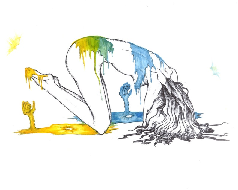 Haunting  Ink and Watercolor Print image 0