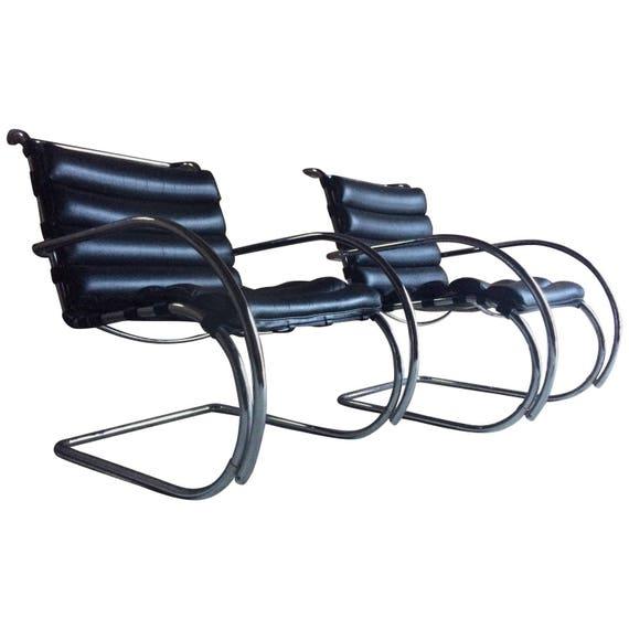 Original Pair Of Knoll Studio Mr Lounge Chairs Ludwig Mies Van Etsy