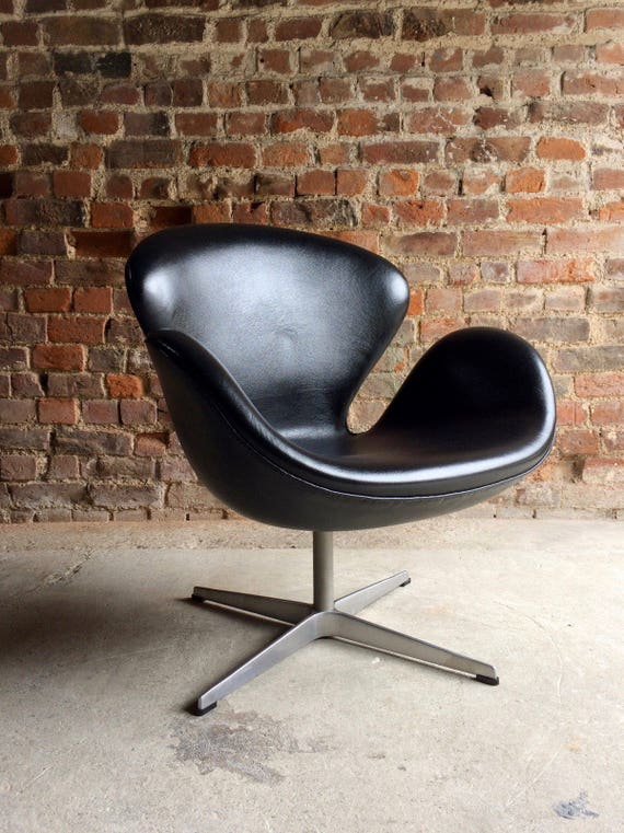 Arne Jacobsen Swan Chair Black Leather For Fritz Hansen 2002 Etsy