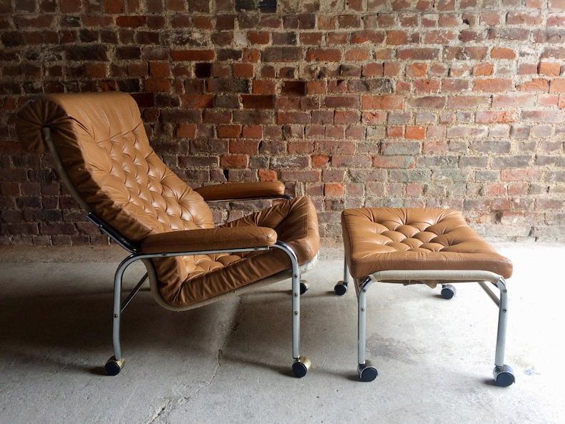 Fabulous Rare Noboru Nakamura For Ikea Bore Lounge Chair Footstool Leather 1970S Machost Co Dining Chair Design Ideas Machostcouk