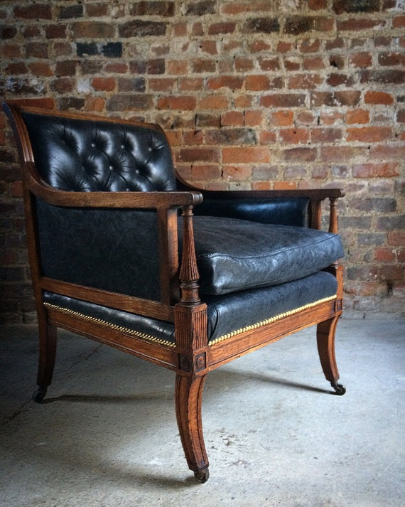image 0 - Antique Library Chair Lounge Club Leather Oak Early Victorian Etsy
