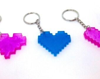 Pixel Heart Keychains (3 pack) Blue Purple