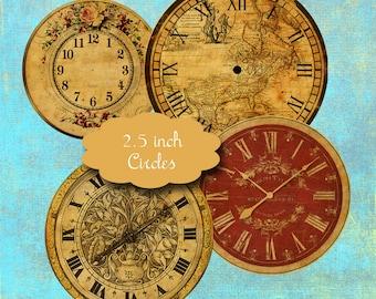 10 Vintage Clock Face Circles