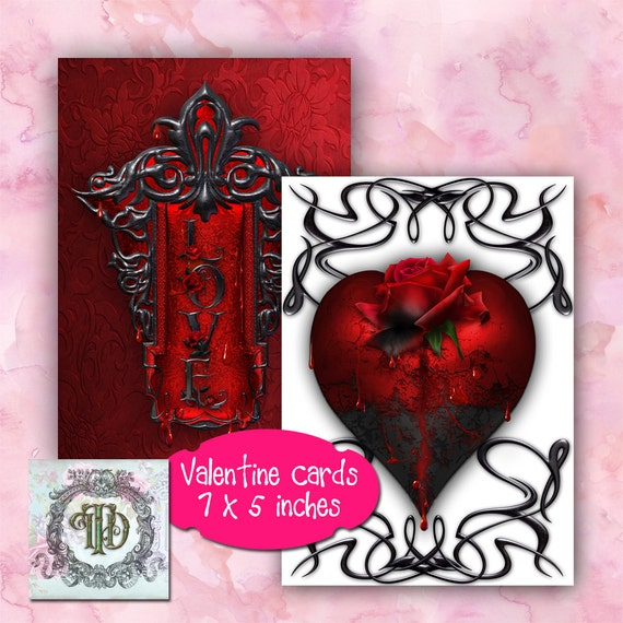 HANDMADE GOTHIC ST VALENTINES DAY GREETINGS CARD SKULL ROSES CROSS HEART//