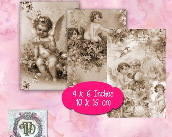 8 Sepia Angel Tags
