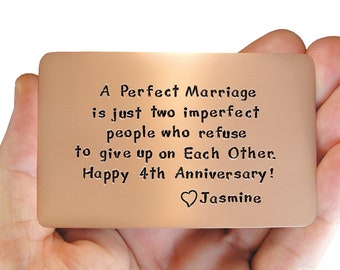 Anniversary,Rustic Copper, Anniversary Gift, Personalized Wallet Insert Card, Copper Wallet Insert, Love Reminder Card