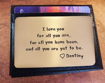 8th Anniversary, Anniversary Gift, Wallet Insert Card, Personalized, Romantic Gift, Love Card, Hand Engraved
