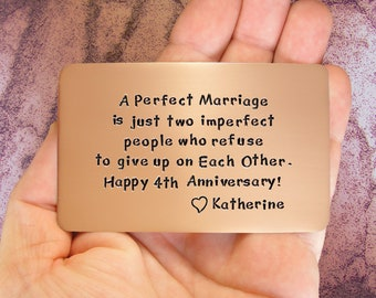 Anniversary Gift, Anniversary Card, Gift For Him, Personalized, Hand Stamped, 4th Anniversary