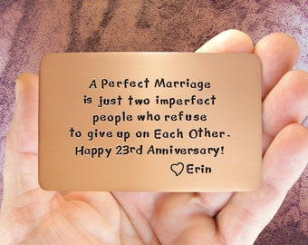 Anniversary Gift, Anniversary Card, Gift For Him, Personalized, Hand Stamped, Wallet Insert Card, Copper 23rd Anniversary