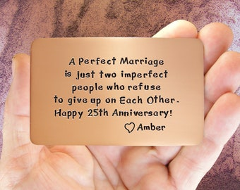 Anniversary Gift, Anniversary Card, Gift For Him, Personalized, Hand Stamped, 25th Anniversary