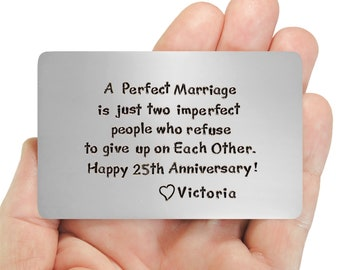 Wallet Insert Card, 25th Anniversary , Gift Idea For Him, Love Reminder, Personalized , Creative Gift Idea , Men Like Metal