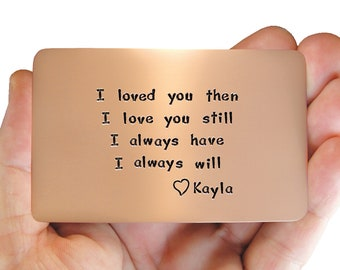Anniversary Card, anniversary gift men, personalized, wallet insert card, copper wallet insert, love reminder card, hand engraved