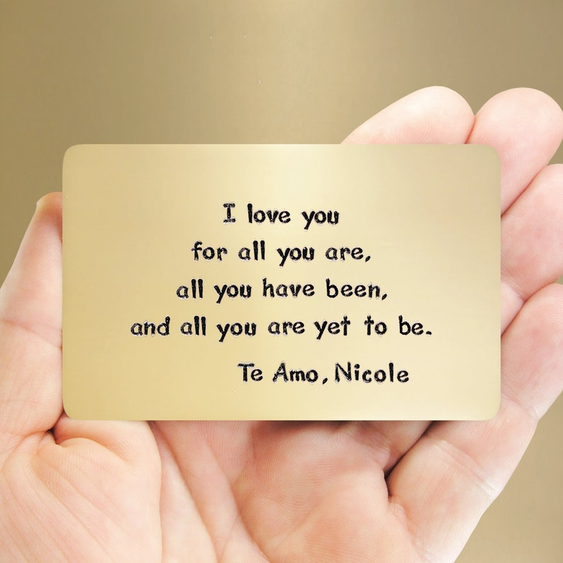 Fun Anniversary Gift Romantic Love Reminder Card Bronze Anniversary Spanish  Gift Bronze Wallet Insert Men Like Metal Personalized