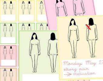 pain tracker stickers printable body diagram planner etsy rh etsy com Pain Diagram in Spanish Printable Pain Chart