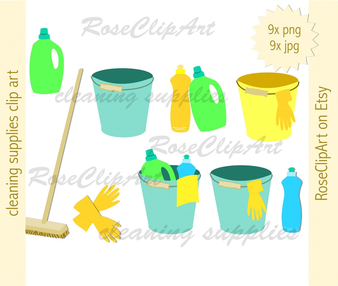 Party Balloons Zurich: 9x Cleaning Bucket Clipart Instant Download Digital