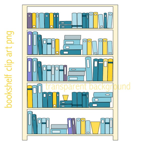 Bookshelf Clip Art Instant Download 2x Bookshelves Clipart