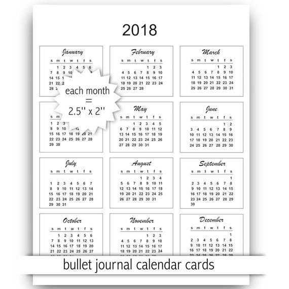 2018 mini calendar cards instant download commercial use Etsy