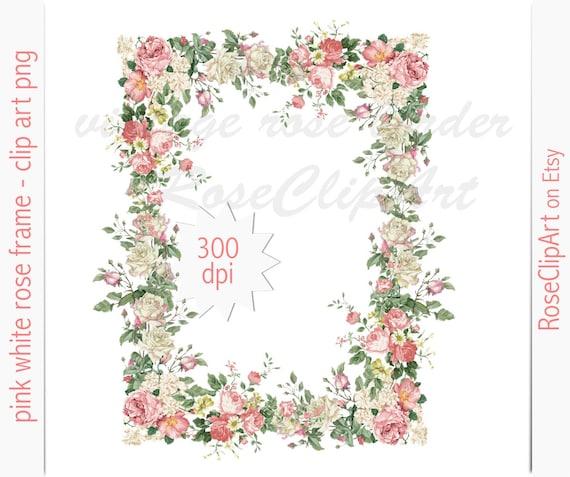 digital rose border clip art instant download vintage rose | Etsy