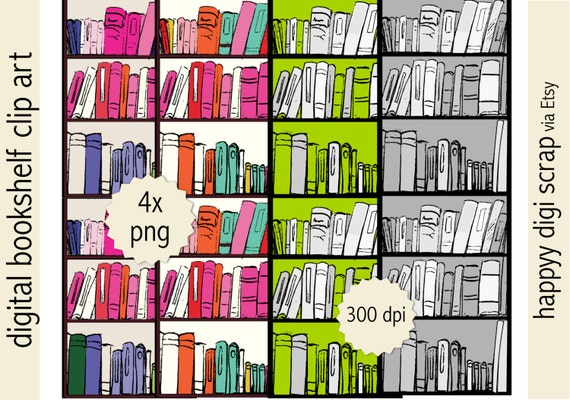 Digital Bookshelf Clip Art Instant Download Bookshelves