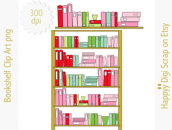 Digital Bookshelf Clipart Instant Download Png