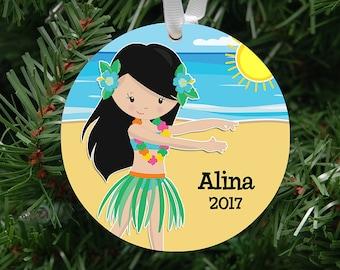 hula girl my first Christmas customized art ornament