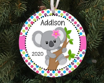 Koala bear decoration for girl or boy Custom porcelain ornament personalized with baby name and year Baby/'s first Christmas ornament