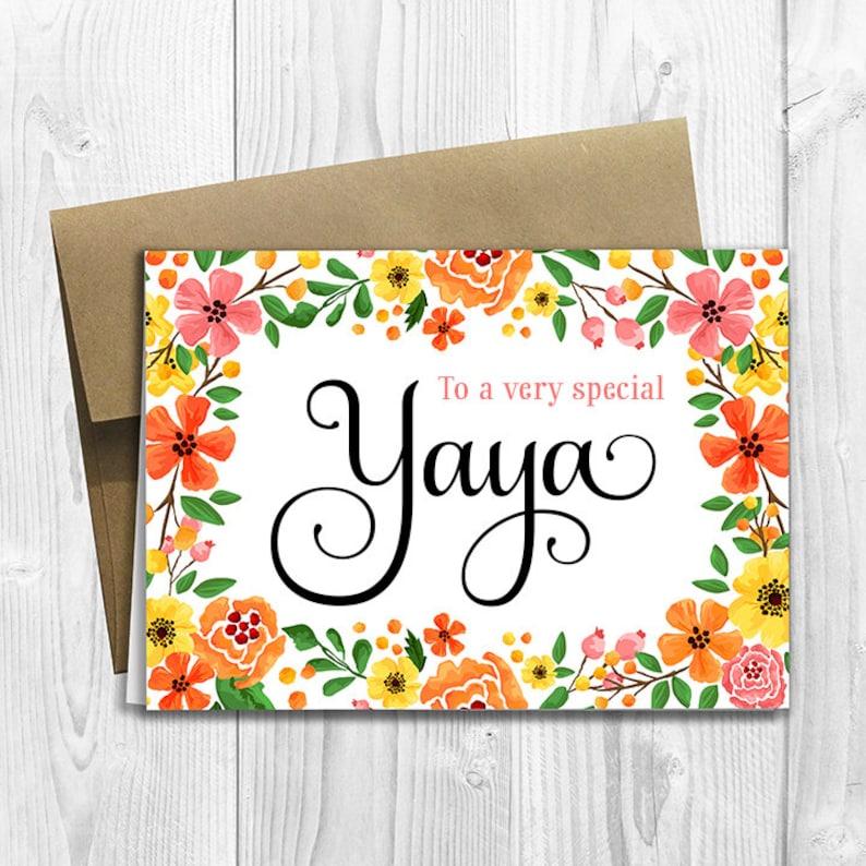 Pour Un Très Spécial Yaya Fête Des Mères Anniversaire Nimporte Quel Occasion 5 X 7 Imprimé Carte De Voeux Printemps Fleurs Floral