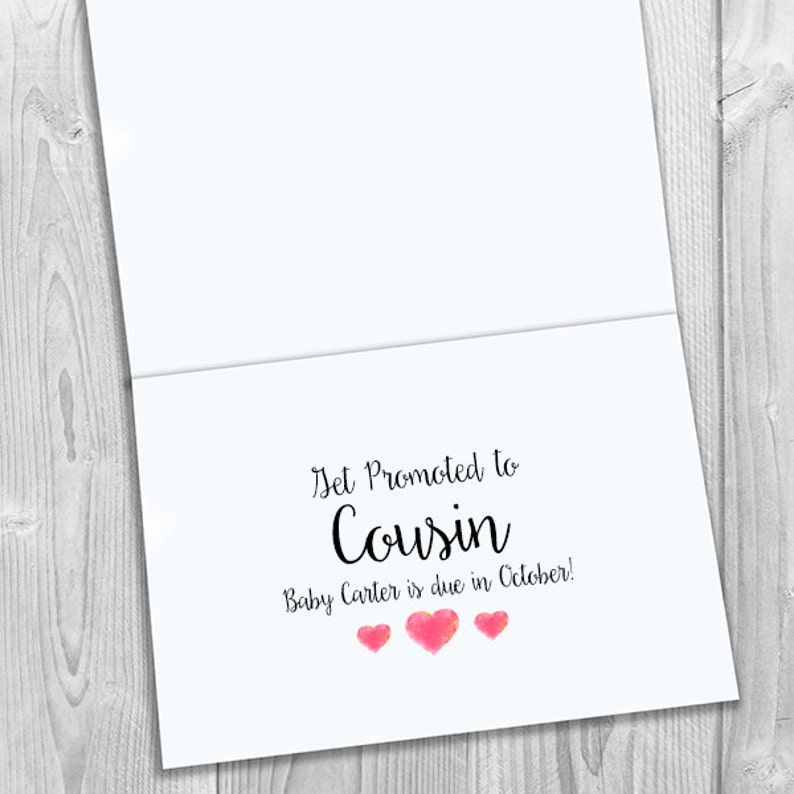 Heart PRINTED CUSTOM Only the Best Nieces Get Promoted to Cousin Pregnancy Announcement 5x7 Greeting Card